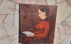 Antik festmény  Szüle Péter ( 1886 - 1944 ) Ülő Nő.