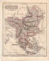Törökország térkép 1854, német nyelvű, eredeti, atlasz, osztrák, Európa, Balkán, Görögország, Kréta