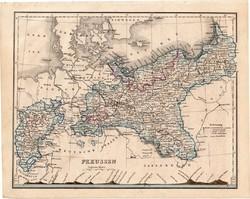 Poroszország térkép 1854, német nyelvű, eredeti, atlasz, osztrák, Európa, Berlin, Breslau, észak