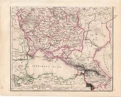 Oroszország térkép 1854, német nyelvű, eredeti, atlasz, osztrák, Európa, déli része, Fekete - tenger