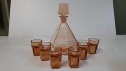 Szines likőrös üveg készlet