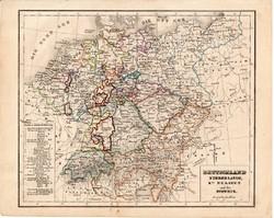 Németország térkép 1854, német nyelvű, eredeti, atlasz, osztrák, Európa, Hollandia, Belgium, Svájc