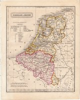 Hollandia és Belgium térkép 1854, német nyelvű, eredeti, atlasz, osztrák, Európa, észak, tenger