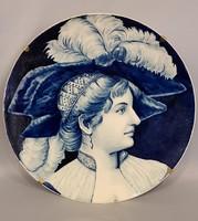 Gyönyörű szép nagyméretű ritka Fischer fali tál, reneszánsz női porté ábrázolással