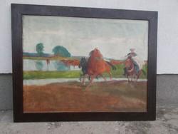 Juszkó, ménes, lovak. Olajfestmény