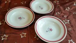 Antik tányér 3 db  Kispesti Gránit mély tányér rózsaszín virággal