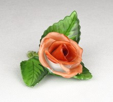 0W674 Jelzett Herendi piros porcelán rózsa