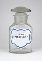 0Y754 Régi DINATR HYDROGENCITR patika üveg 16 cm