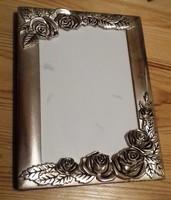 Rózsa mintás fém fényképkeret, ezüstözött?! 18.5 x 14 cm