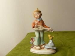 Altwien porcelán kisfú gitárral és éneklő madárkával