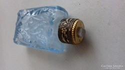 Cseppentős kék színű  parfümös üveg réz tetővel