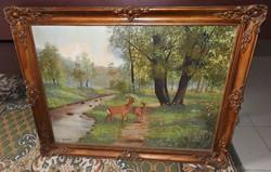 Gárdonyi : Őzek - olaj / vászon festmény blondel keretben - nagy méret