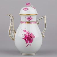 Herendi apponyi purpur mintás teáskanna rózsás fedővel