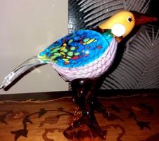 Különleges madárka figura - Muranói stílusú - dekoratív műalkotás