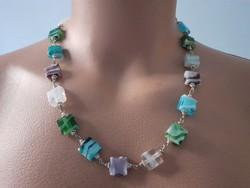 Mutatós, színes muranoi üveg nyaklánc
