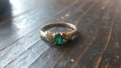 Smaragd gyémánt 14K aranygyűrű