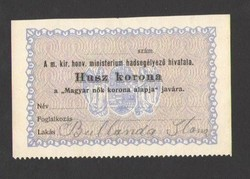 """20 korona """"A m. kir. honv. ministerium hadsegélyező hivatala""""!!  UNC!!  RITKA!!"""