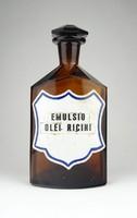 0Y752 Régi EMULSIO OLEI RICINI patika üveg 21.5 cm