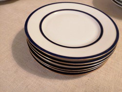 6 db antik kobalt-arany desszertes tányérok, egyedileg sorszámozva. Hibátlanok, 6 db-os készlet!