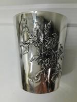 Sterling ezüst, szecessziós keresztelő pohár, frissen polírozott gyönyörű szép állapotban eladó.