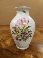 Herendi virág mintás, fonott mintás váza
