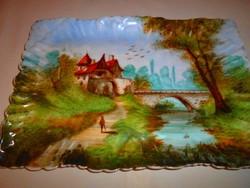 Antik kézzel festett  porcelán tálca