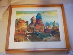 Kortárs festő szignózott képe- színes templom