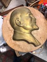 17 cm-es Lenin bronz plakett, kőlapon, gyönyörű munka, ajándékba.