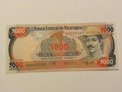 Nicaragua 5000 Cordobas UNC 1985 alacsony sorszámmal