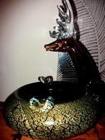 Érdemes megnézni - Ritka hamútál, szarvas figura ékesíti - Muranói stílusú