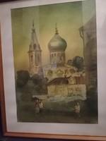 Ismeretlen kortárs festő - szignózott műve Templom