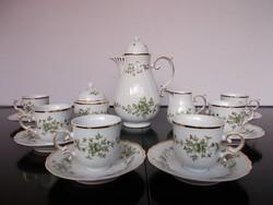 Hollóházi porcelán  Erika mintás hat személyes komplett kávéskészlet