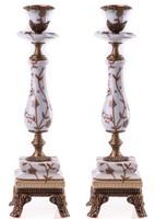Szecessziós stílusú gyertyatartók ☆ porcelán és réz kombináció díszítéssel ☆