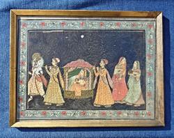 Régi indiai szövetre kézzel festett jelenet, keretben