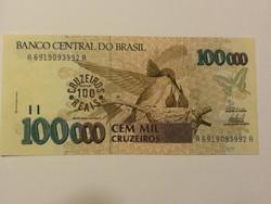 Brazília 100 Cruzeiros pecsét 100000 Cruzerios-on UNC 1993