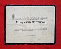 1868 Pest, Nagyságos Szabó Menyhért gyászjelentés