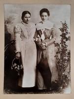 Antik fotó régi női páros fénykép