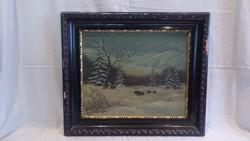Baky jelzéssel régi festmény tájkép vadakkal