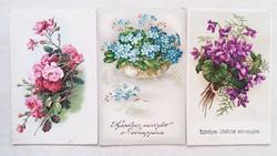 Régi képeslap 1940 ibolyás rózsás nefelejcses üdvözlőlap 3 db