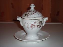 Antik porcelán mustártartó, cukortartó (03)