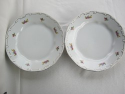 Zsolnay porcelán lapos tányér 2 db