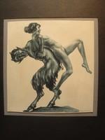 Max Brüning - Faun és nympha  /  színezett erotikus rézkarc