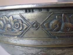 Antik, jelzett  ezüstözött  réz asztalközép