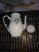 Német porcelán teáskanna, filigrán alkattal, de a tetőcsíptetője törött