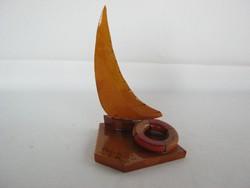Retro balatoni emlék fa vitorlás hajó Révfülöp