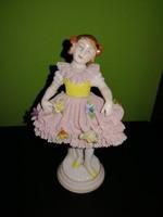 Csodálatos antik porcelán Nápoly kislány figura hibátlan