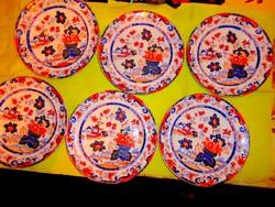 6 db antik japán Imari söteményes tányér