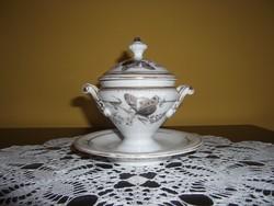 Antik porcelán mustártartó, cukortartó (04)