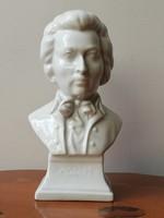 Herendi porcelán Mozart biszkvit mellszobor sroszámozott jelzett hibátlan