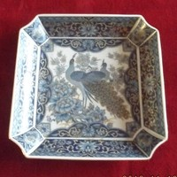 Kínai pávamintás tál dús aranyozással